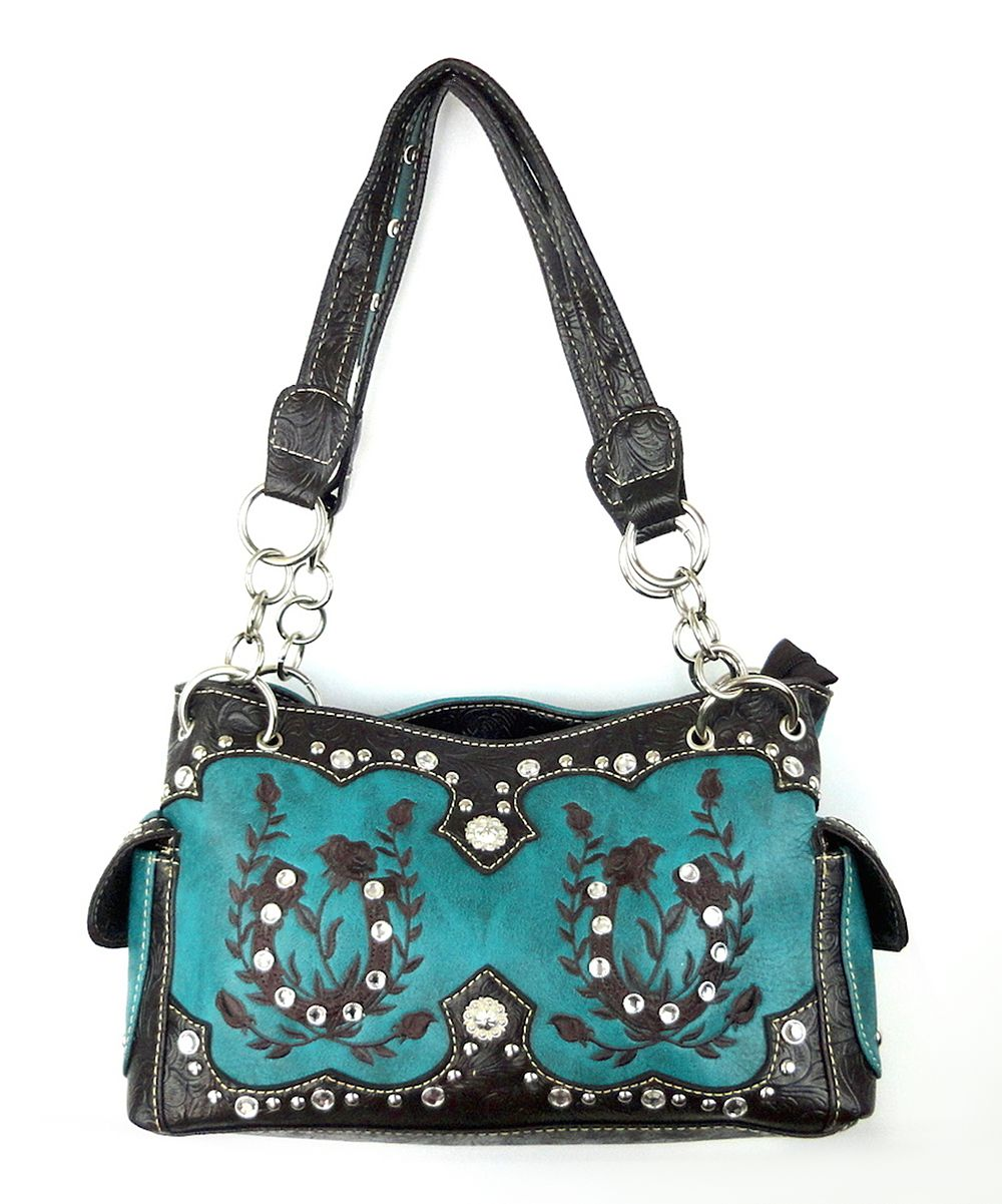 Savannah Turquoise Embellished Horseshoe Shoulder Bag | zulily