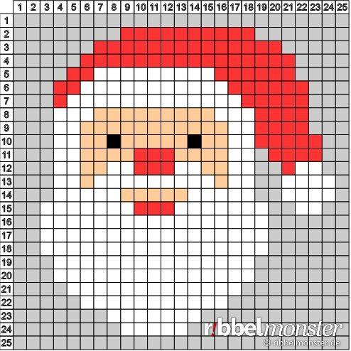 pixelmuster weihnachtsmann 25 25 weihnachtsideen weihnachten. Black Bedroom Furniture Sets. Home Design Ideas