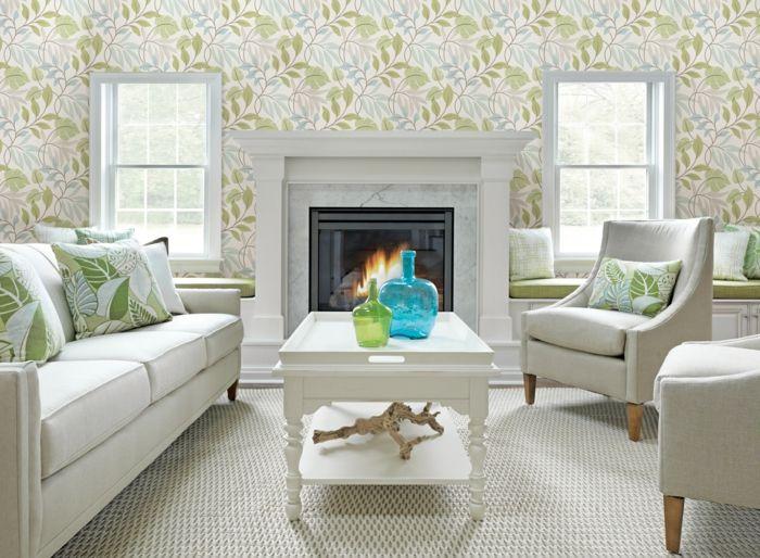 wohnzimmer tapeten ideen florales muster weiße wohnzimmermöbel, Hause ideen