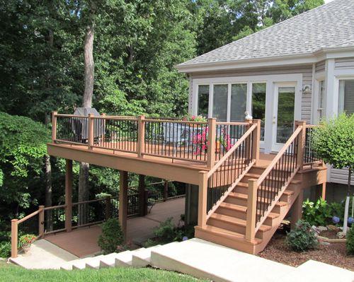 Pin By Heartlands Building Company On Decks Patios Multi Level Deck Deck Designs Multi Level Two Level Deck