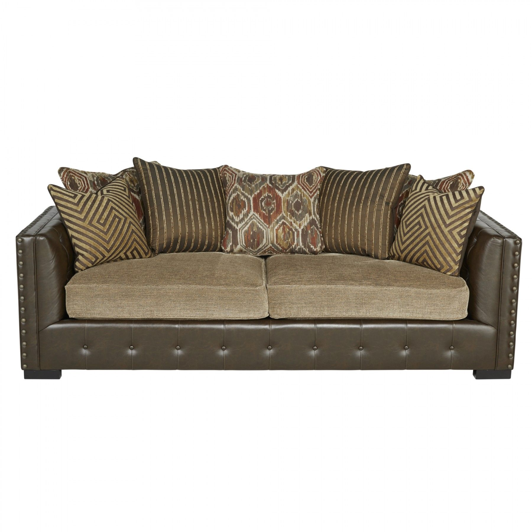 -Traditional Styling -Downblend throw pillows -Tufted mix sofa -Tufted inside arms -Bronze nail heads accenting the frame -Fully padded frame -Look and feel of leather on the body -Multi fabric mix scatter back pillow