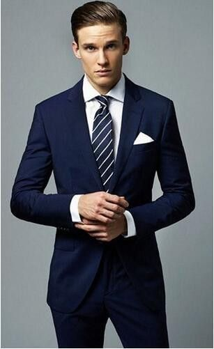 New Fashion Dark Blue Wedding Suits 2 Pieces Mens Suits Slim Fit ...