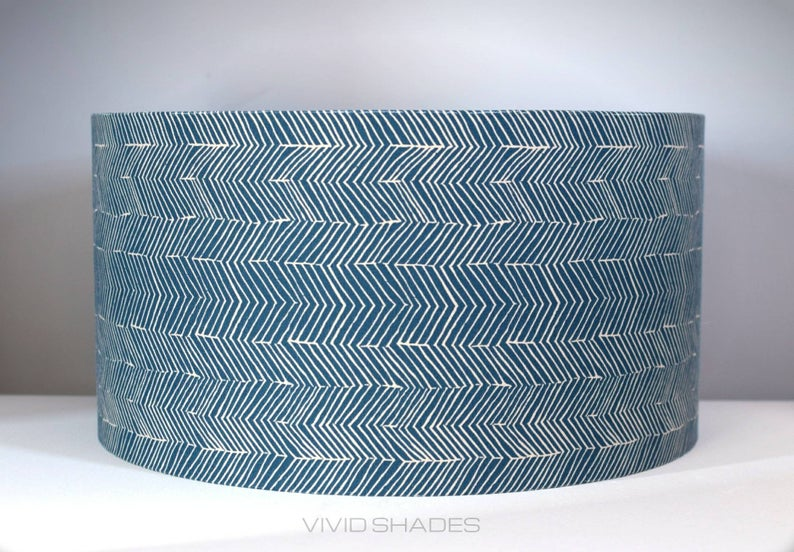 Blue Geometric Scandinavian Lampshade Handmade By Vivid Etsy Scandinavian Fabric Patterned Lampshades Drum Lampshade