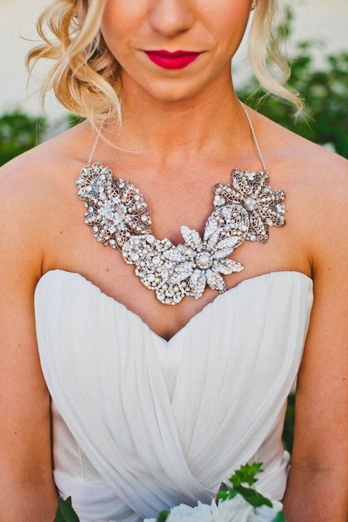 Statement necklace on your wedding day! I love it!