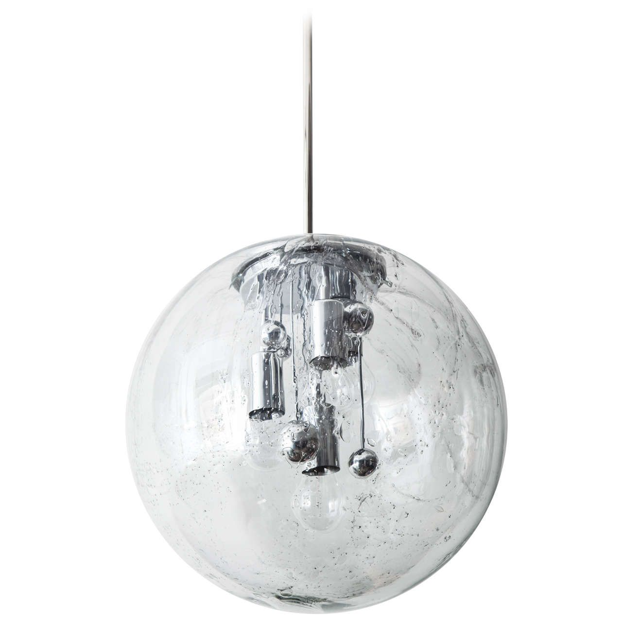 Fantastic Extra Large Glass Globe With Bubble Inclusions And A