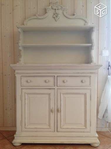 Buffet vaisselier interior 39 s blanc cr me ivoire ameublement ain saint hubert - Meuble patine blanc ivoire ...