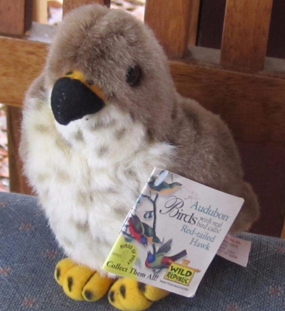 6 Wild Republic Audubon Red Tailed Hawk W Real Bird Sound Plush W