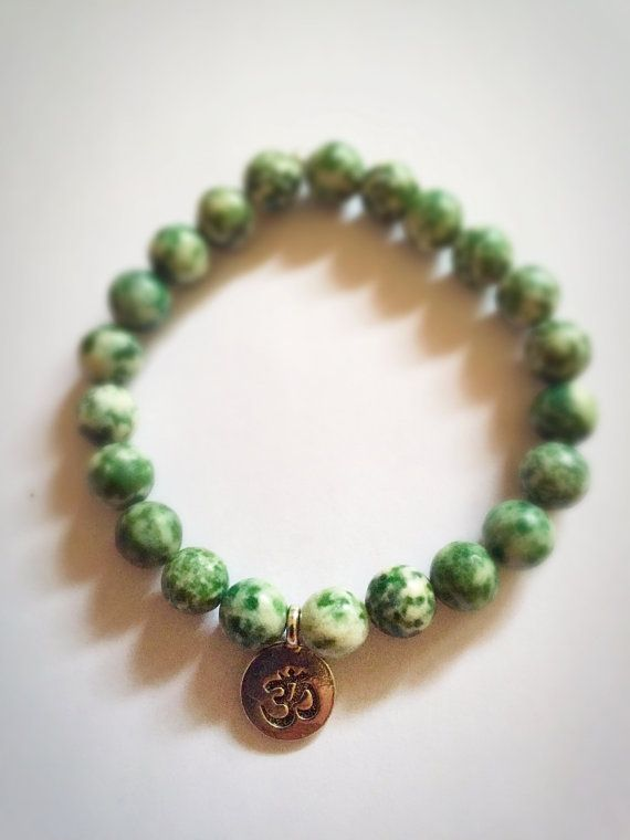 OM BRACELET JADE by Yogaschmuckwerkstatt on Etsy