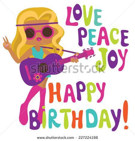 Happy Birthday Card With Hippie Girl Musician