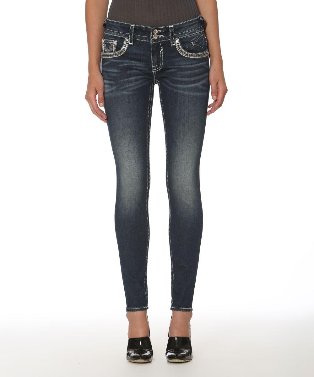 Dark wash embellishedpocket dublin skinny jeans products