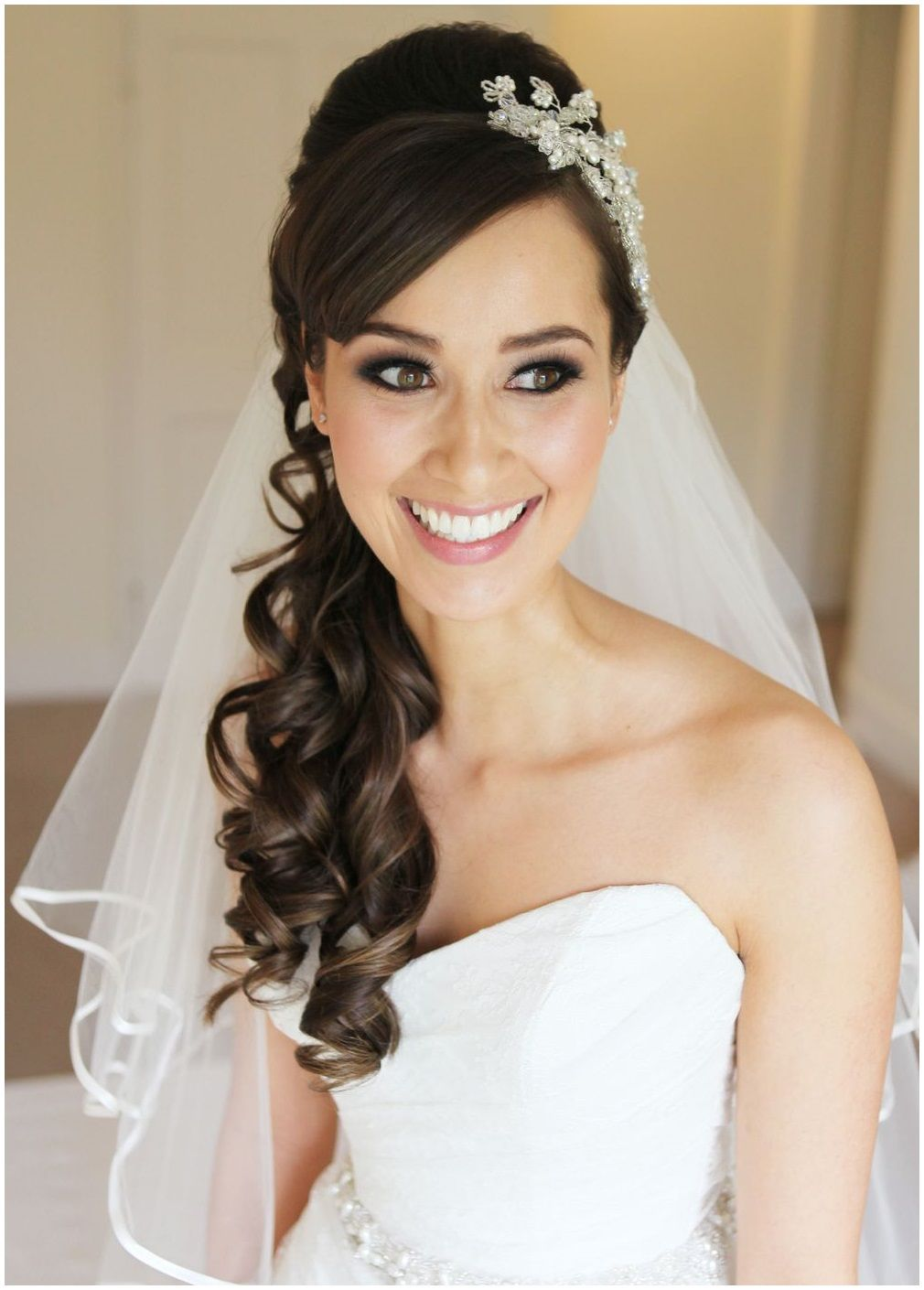 wedding hair down with headband and veil | hair | bride