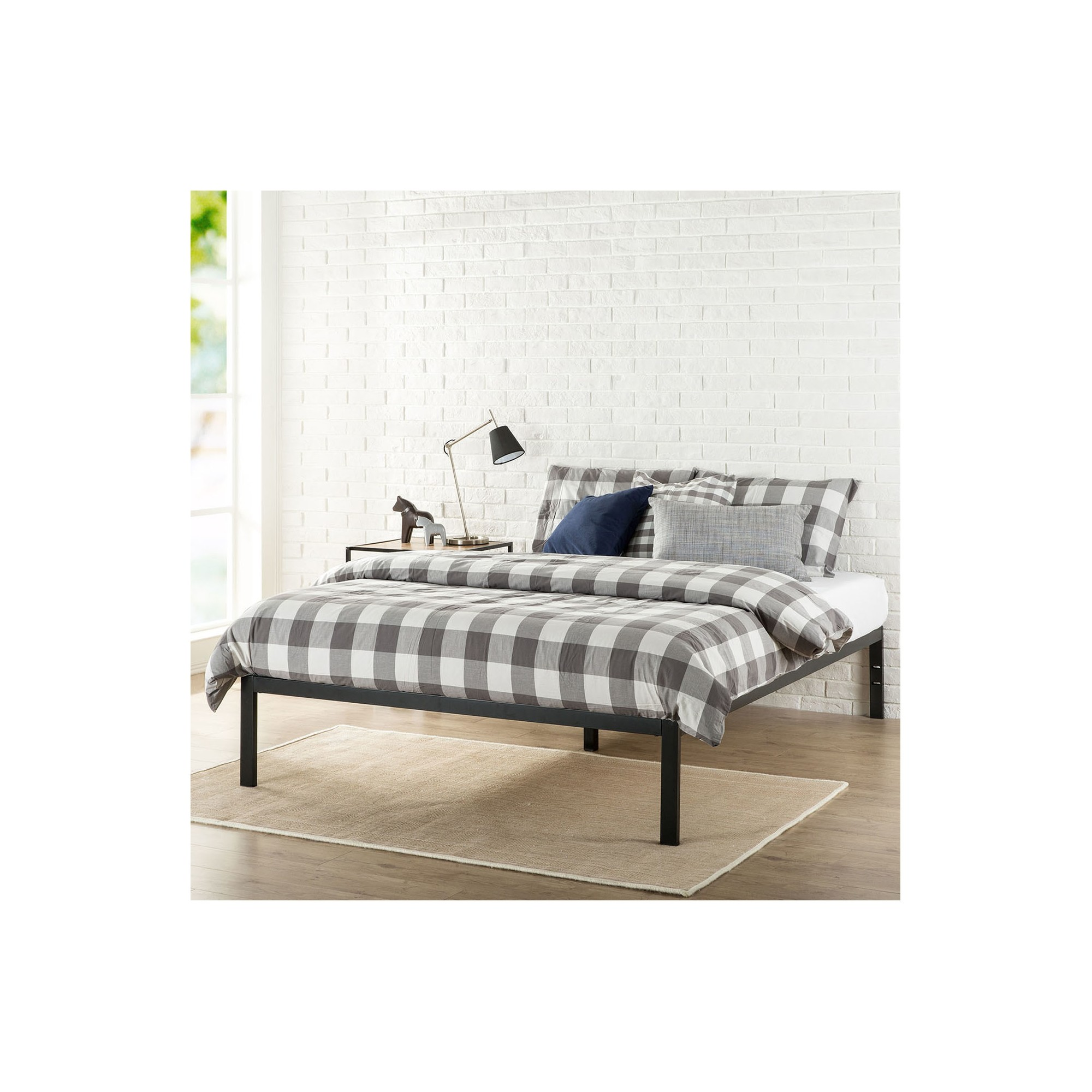 Modern Studio Metal Platform Bed 1500 Queen Black