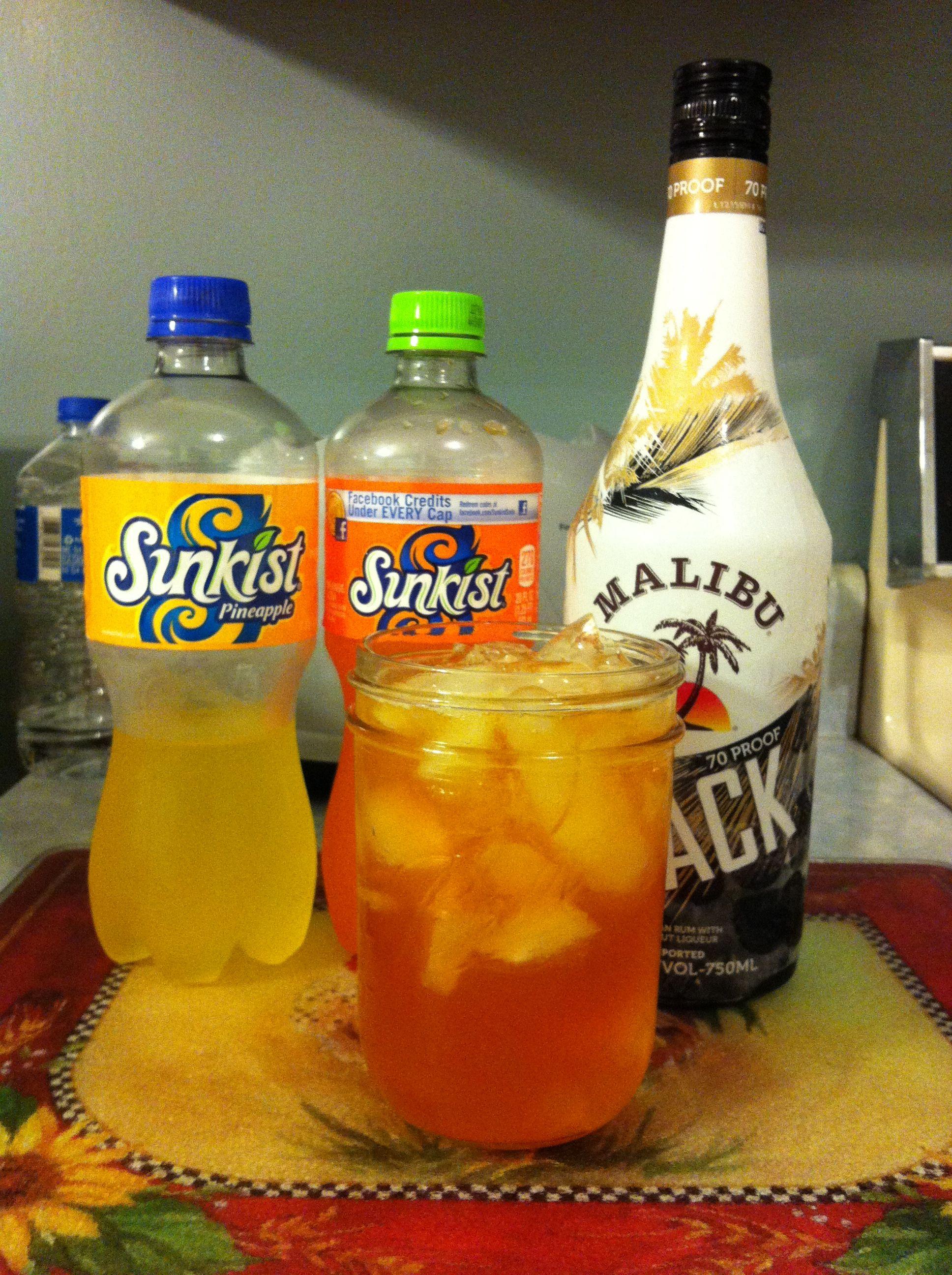 Bahama Fizzzzzz Sunkist Pineapple and Orange sodas mixed with Malibu