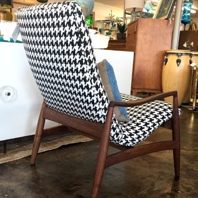 Fab High Back Scoop Chair With Walnut Frame In The Style Of Milo Baughman,  Ac. Reupholstered In Large Houndstooth Fabric.