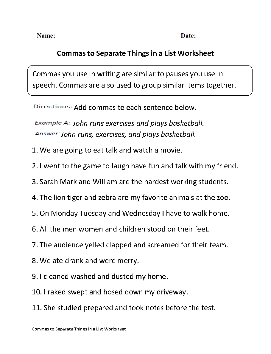 Commas Separate Things In List Worksheet Part 1 Beginner Home