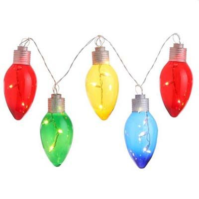 RAZ Lighted Christmas Bulb Garland Red/Green/Yellow/Blue Made of