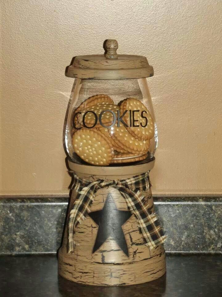 Cookie Jar Terra Cotta Pot Crafts Clay Pot Crafts Primitive Crafts