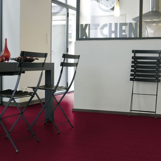 Gorgeous Kitchen Renovation In Potomac Maryland: Raspberry Vinyl Floor Is Simply Chic.