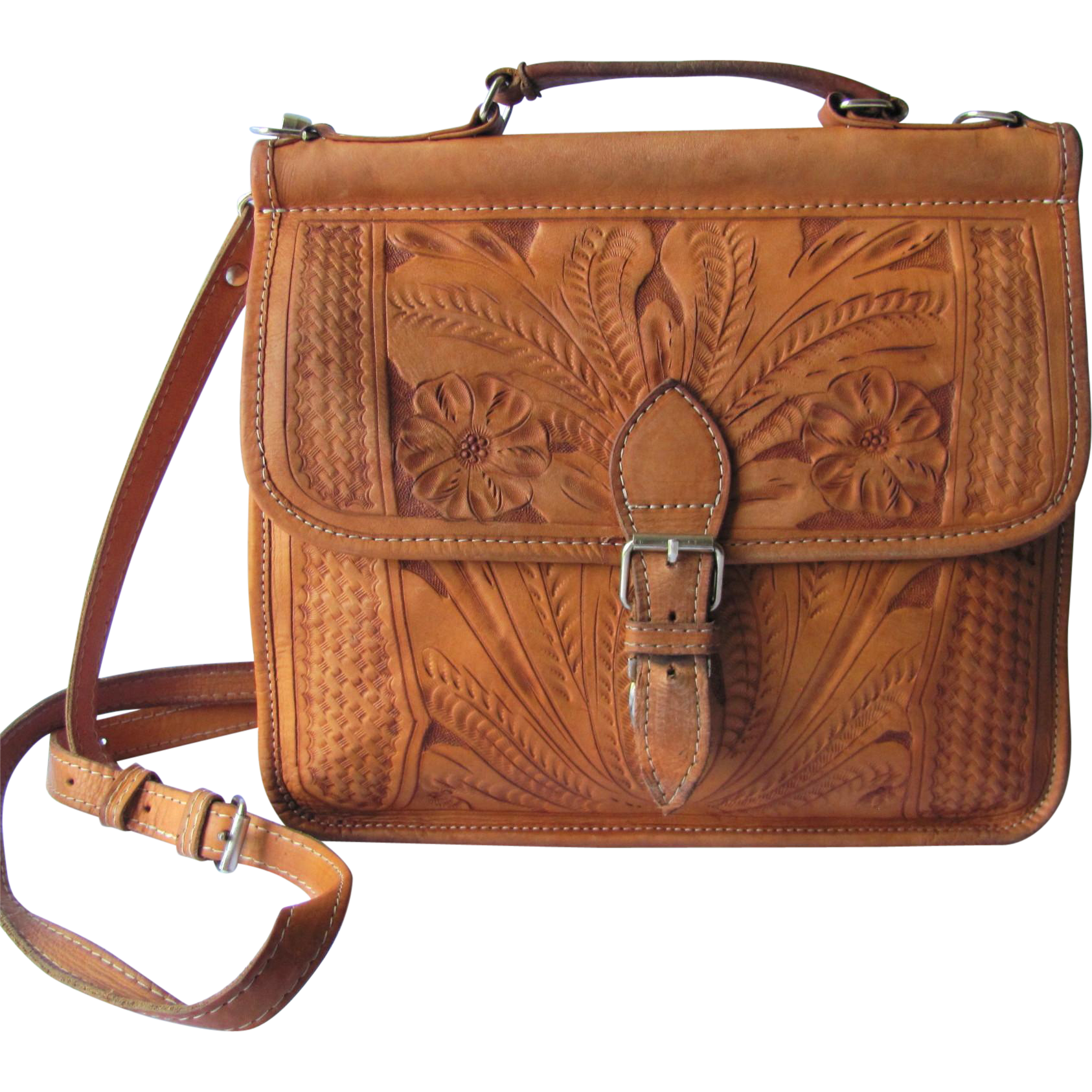 162e13966a Vintage Hand Tooled Leather Handbag in Caramel Color with Cross-Body  Convertible Strap