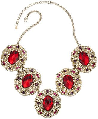 Robert Rose GoldTone Red Stone Frontal Necklace costume jewelry