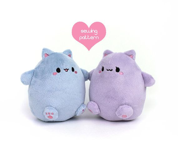 PDF sewing pattern - Kawaii Cat Puff plushie - easy cute cuddly ...