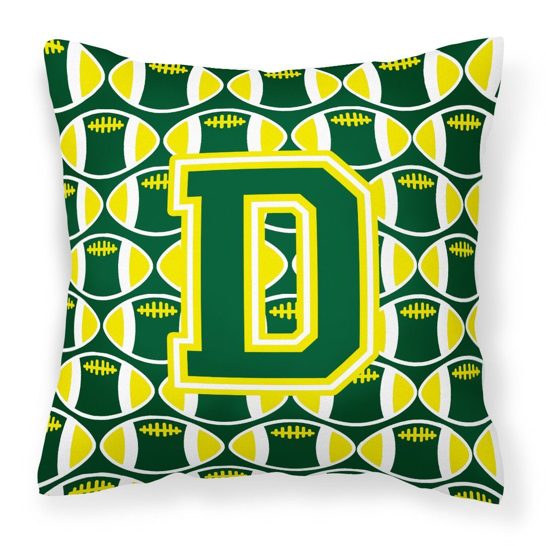 Letter D Football Green and Yellow Fabric Decorative Pillow CJ1075-DPW1414