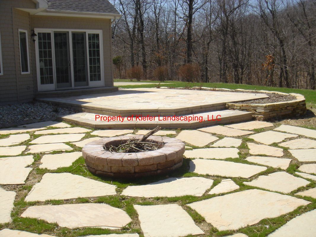 natural stone patio raised stone patio burn pit natural stone