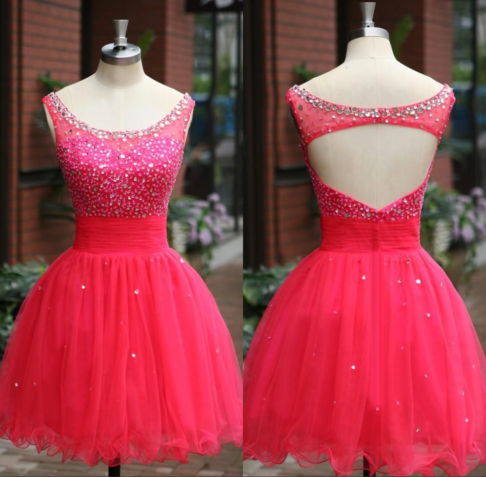 Short red prom dresses with beaded crystal scoop sleeveless