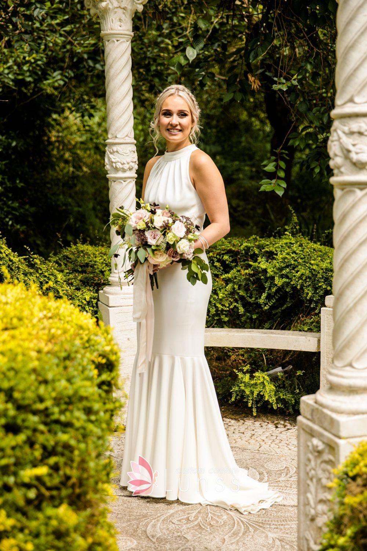 Ivory Spandex Dropped Waist Draped Trumpet Whimsical Fall Wedding