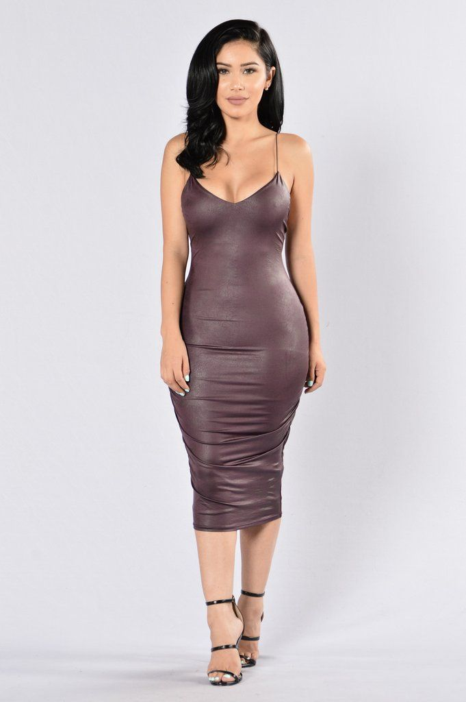 - Available in Black, Silver, Dark Brown, and Purple - V Neckline - Double Lining - Elastic Strap - Midi Length - 95% Polyester, 5% Spandex; Lining: 100% Polyester