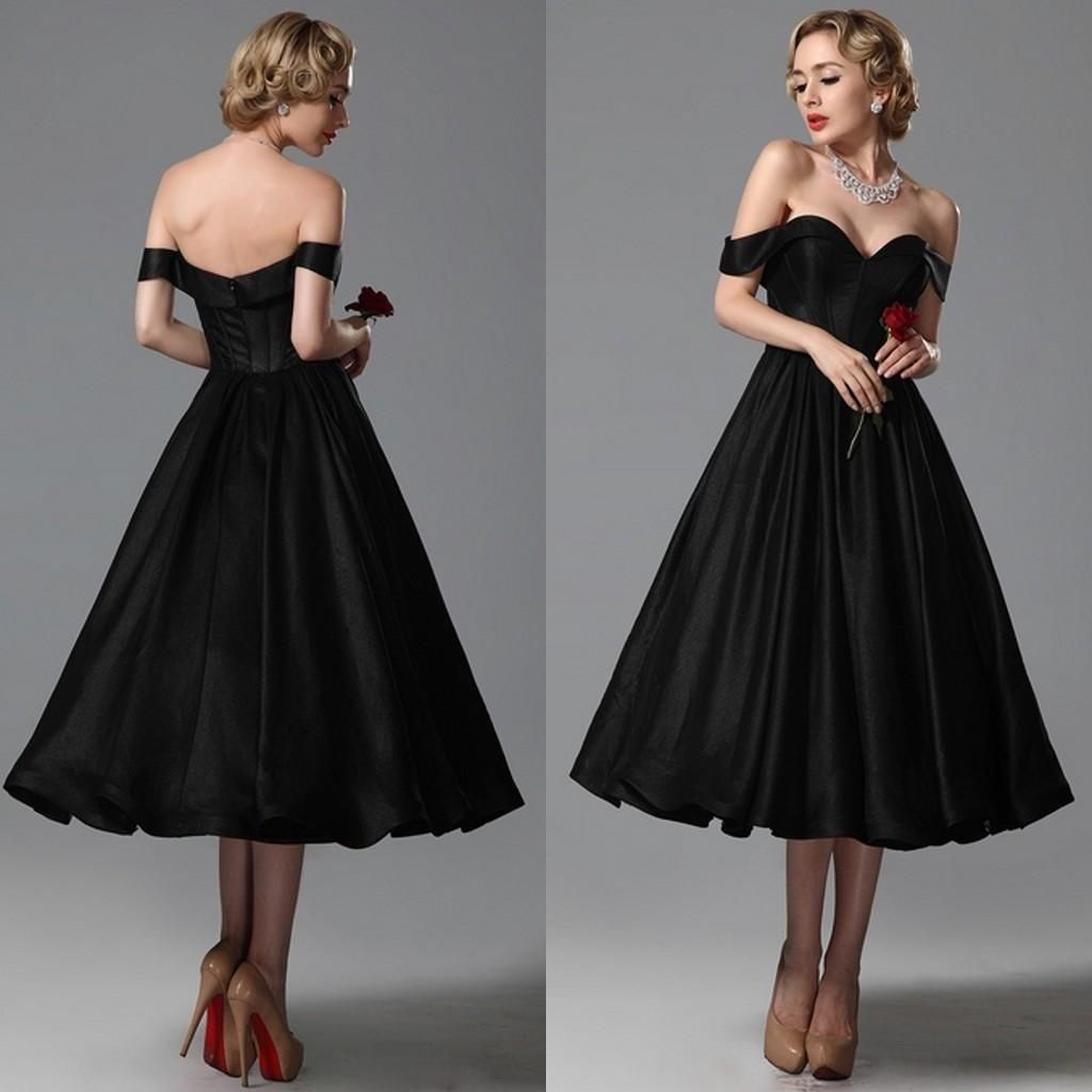 2015 Vintage Black Wedding Dresses A Line Sweetheart Off Shoulder ...
