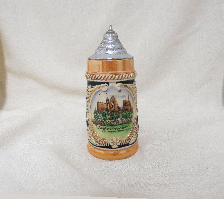 Vintage Souvenir Stein Dreleichenhain Ruins Germany Lidded Stein Hand Painted Lustreware Lusterware