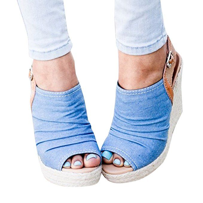 6d32a00b77ad4 Womens Ankle Strap Buckle Peep Toe Wedge Sandals Platform Heeled Ruched  Canvas Espadrille Summer Shoes. Super cute wedges shoes women with peep toe  booties ...