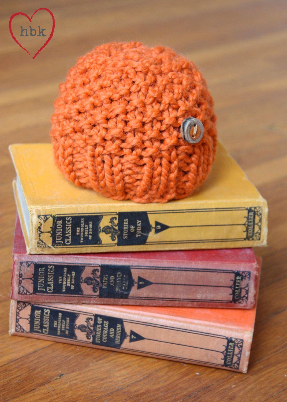Classic Knit Newborn Baby Hat - Mango