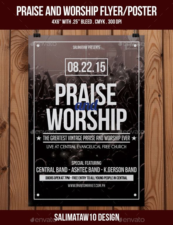Praise And Worship Flyer  Poster  Photoshop Flyer Size And