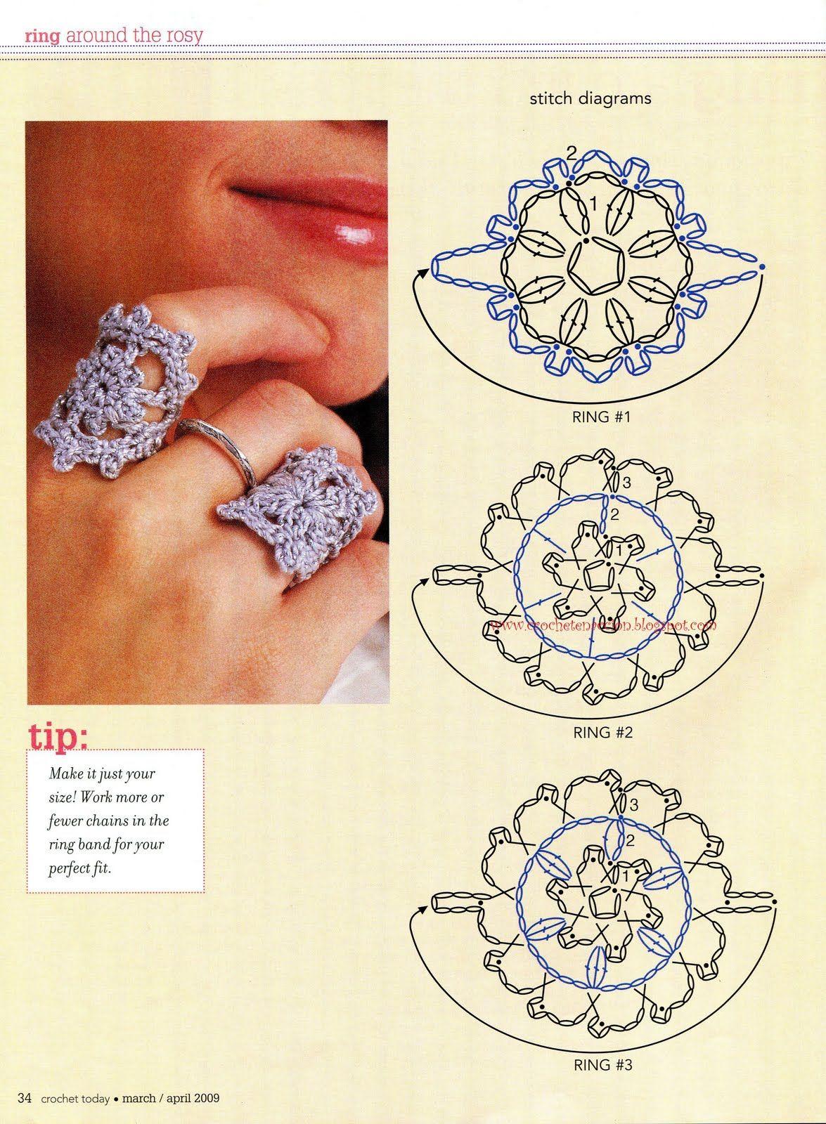 Patrones de Crochet | Crochet jewelry | Crochet, Crochet rings ...