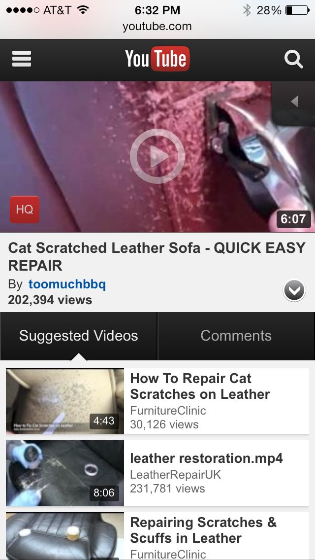 How To Repair Severe Cat Scratches On A Leather Couch Video Http://m