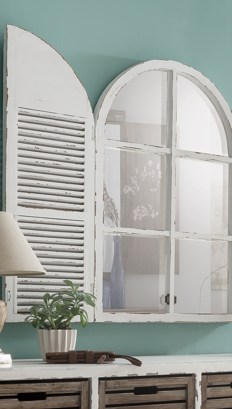 Distressed White Mirror With Shutters