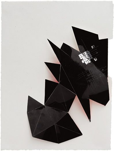 Jim Hodges, Black Chord, 2011. Paper collage, 12-1/2 x 9-1/4 x 3/4 inches