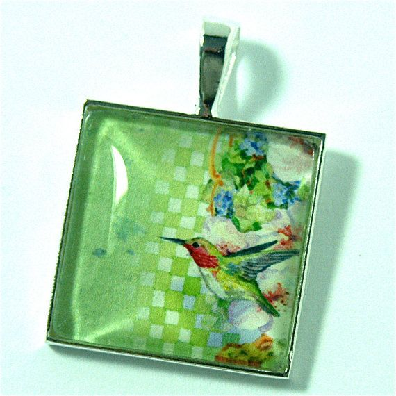 Pendant Humming Bird Ruby Throated Watercolor by CynthiaVHEhrlich, $16.95