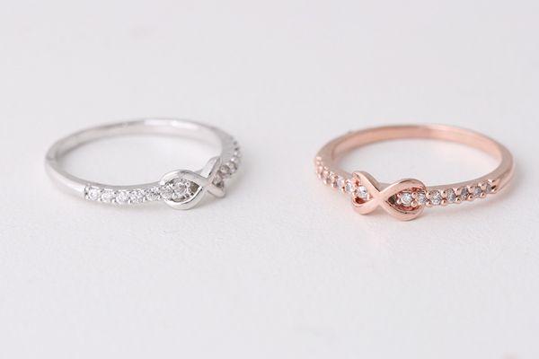 Cz Band Embraced Infinity Symbol Ring White Gold Wedding