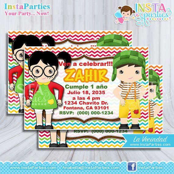 Invitaciones El Chavo Del 8 Ocho Fiesta Tarjetas Invitación
