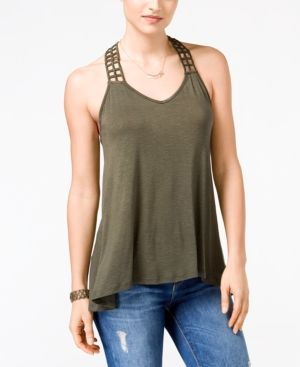 American Rag Crocheted-Back High-Low Tank Top, Only at Macy's - Green XXL
