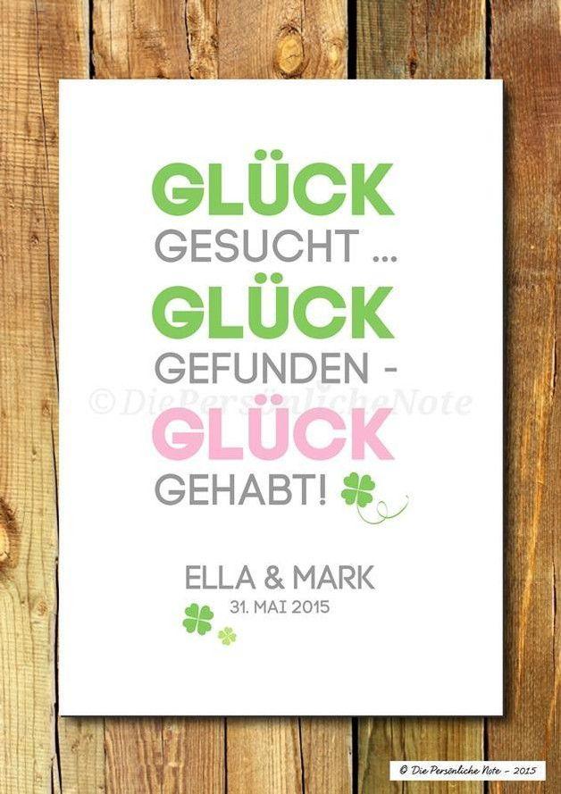 Gastgeschenke   Druck: Glück gehabt!   Hochzeit/Verlobung/Liebe