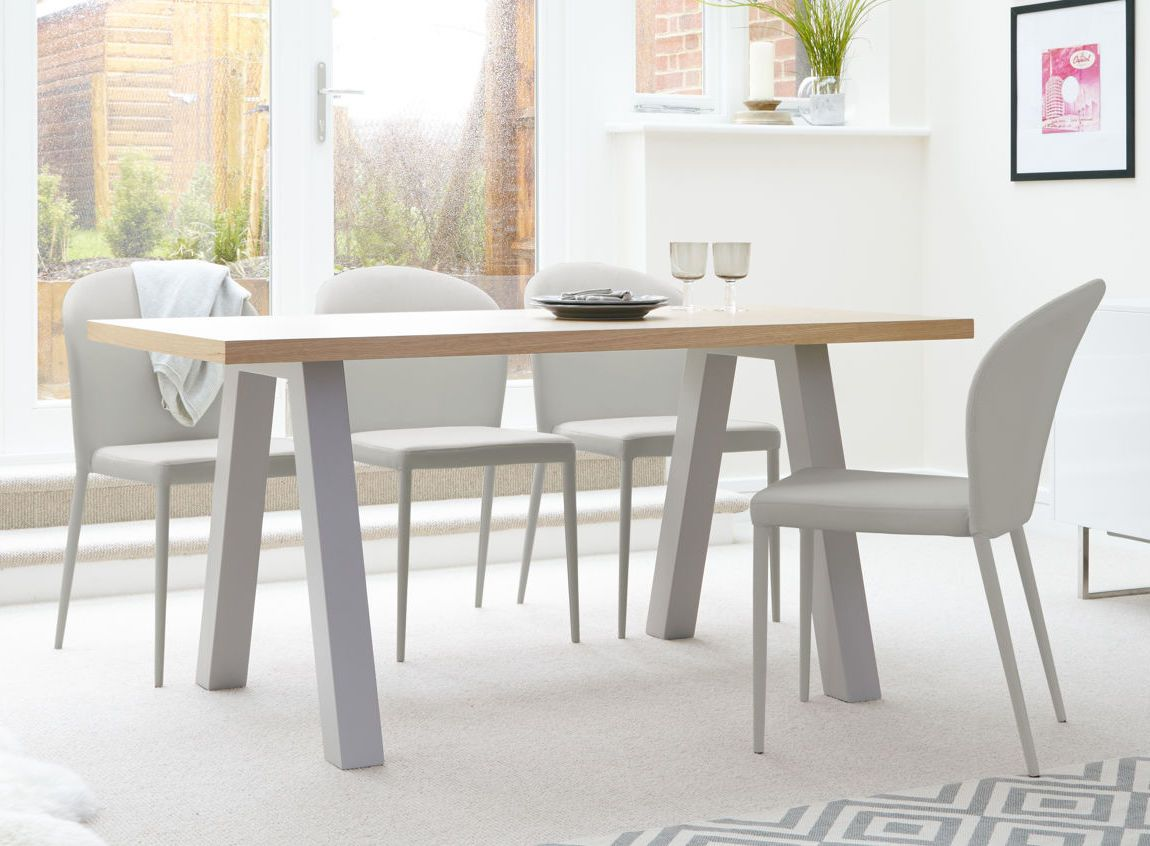 The Zen Oak And Santo Stackable 6 Seater Dining Set From Danetti Is All About Smooth