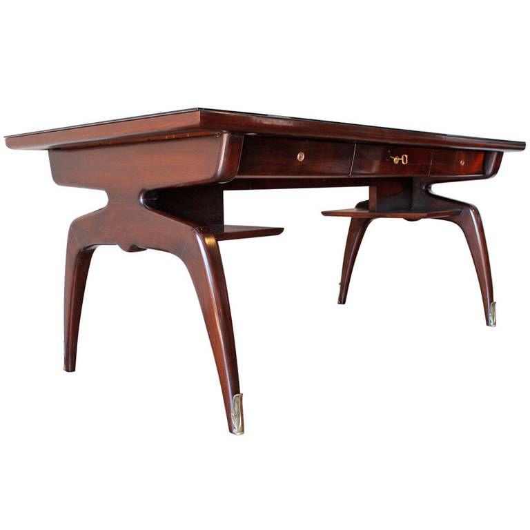 Exquisite Mahogany Sculptural Desk By Vittorio Dassi Italy 1950 S