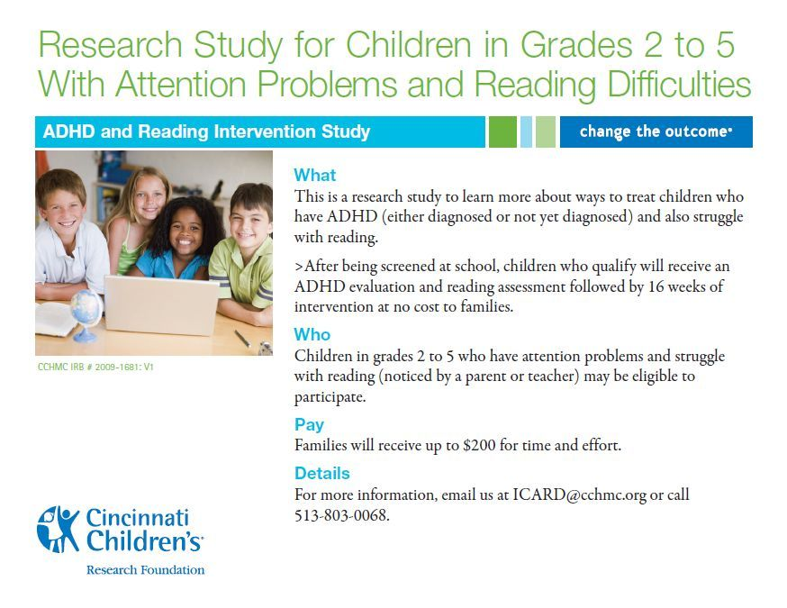 This is a Cincinnati Children's research study to learn more about ways to treat children who have ADHD (either diagnosed or not yet diagnosed) and also struggle with reading. After being screened at school, children who qualify will recieve and ADHD evaluation and reading assessment followed by 16 weeks of intervention at no cost to families.