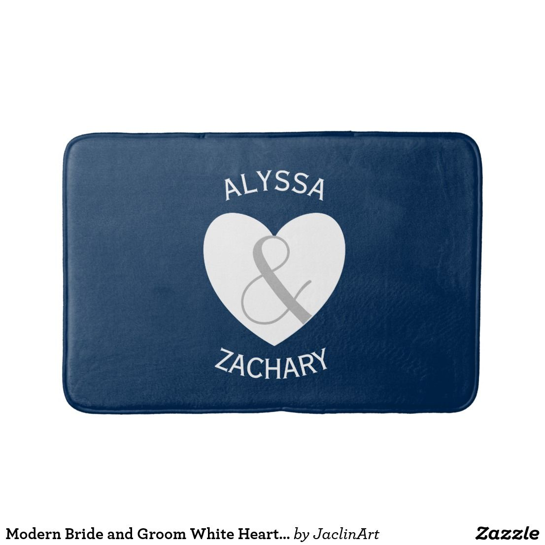 Modern Bride and Groom White Heart Curved Text A30 Bathroom Mat ...