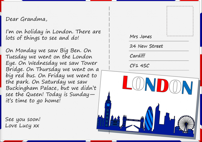 Postcard from London Writing practice, Writing lessons