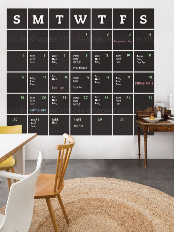 chalkboard wall calendar, blackboard calendar, wall decal calendar